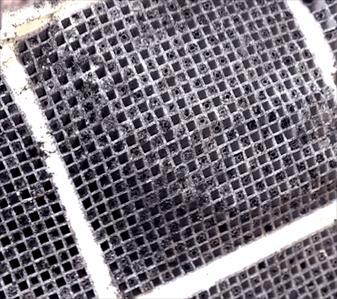 """Rozebraný filtr částic po chemickém """"mokrém čištění"""""""